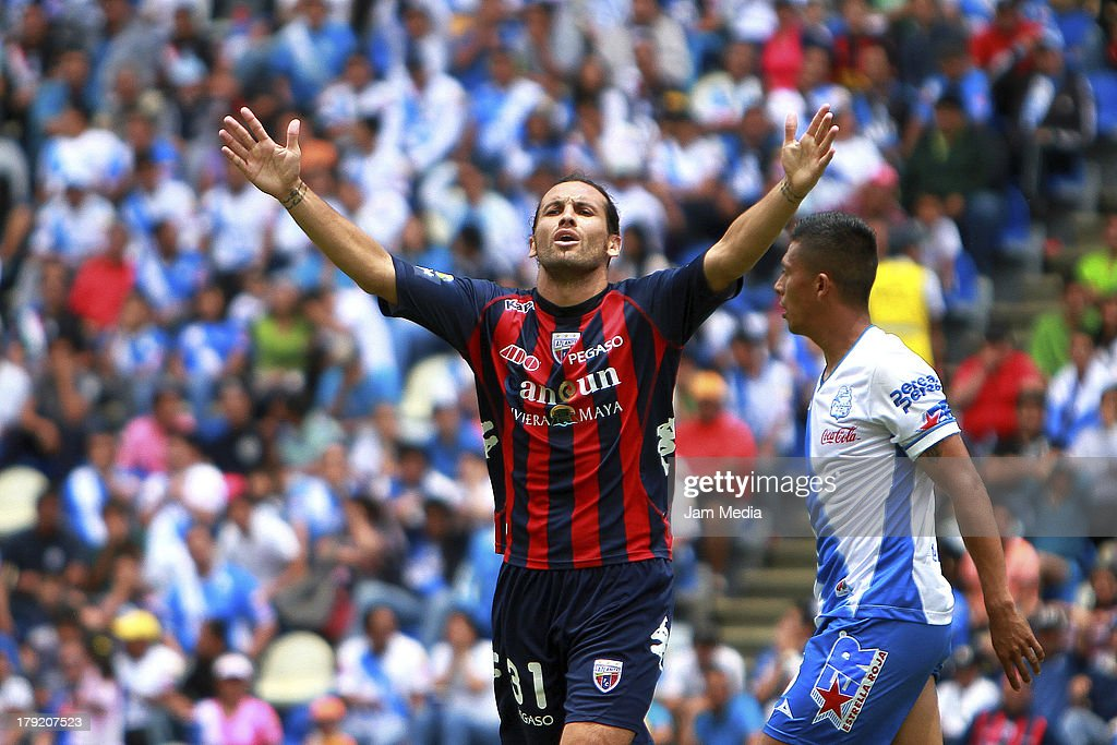 Mauricio Romero of Atlante reacts during a match between Puebla and Atlas as part of the Apertura 2013 Liga Bancomer MX at Cuahtemoc Stadium on september 01, 2013 in Puebla, Mexico.
