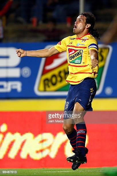 Mauricio Romero of Monarcas Morelia celebrates scored goal against Santos Laguna during their match as part of the 2009 Opening Tournament in the...