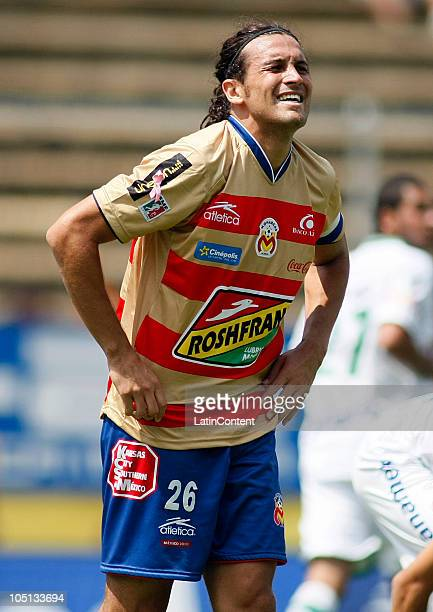 Mauricio Romero of Morelia reacts during a match against Santos as part of the Apertura 2010 at Morelos Stadium on October 10 2010 in Morelia Mexico