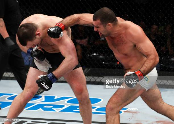 Mauricio Rua of Brazil punches Gian Villante in their light heavyweight bout during the UFC Fight Night event at CFO Centro de Formaco Olimpica on...