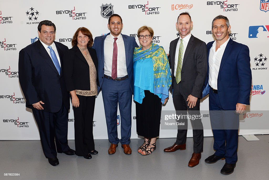Mauricio Sulaiman Cyndi Court Svante Myrick Caryl M Stern Stephen Bognar and Nick Keller attend Beyond Sport United 2016 at Barclays Center on August...