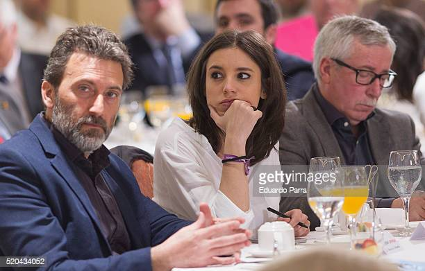 Mauricio Valiente Irene Montero and Ignacion Fernandez Toxo attend 'Los Desayunos de Europa Press Ada Colau conference' at Hesperia hotel on April 11...