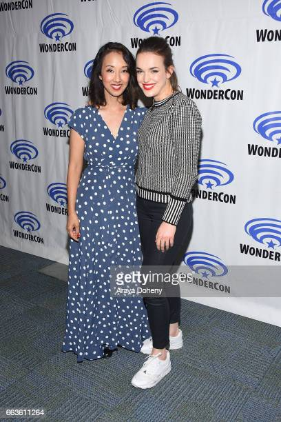 Maurissa Tancharoen and Elizabeth Henstridge attend the 'Agents of SHIELD' press panel at day two of WonderCon 2017 the at Anaheim Convention Center...