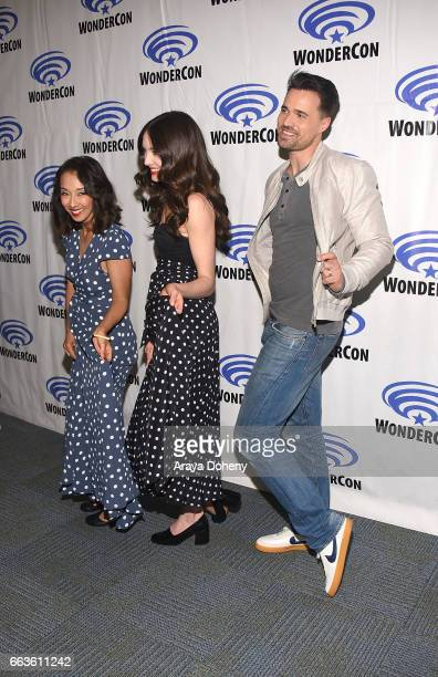 Maurissa Tancharoen Mallory Jansen and Brett Dalton attend the 'Agents of SHIELD' press panel at day two of WonderCon 2017 the at Anaheim Convention...
