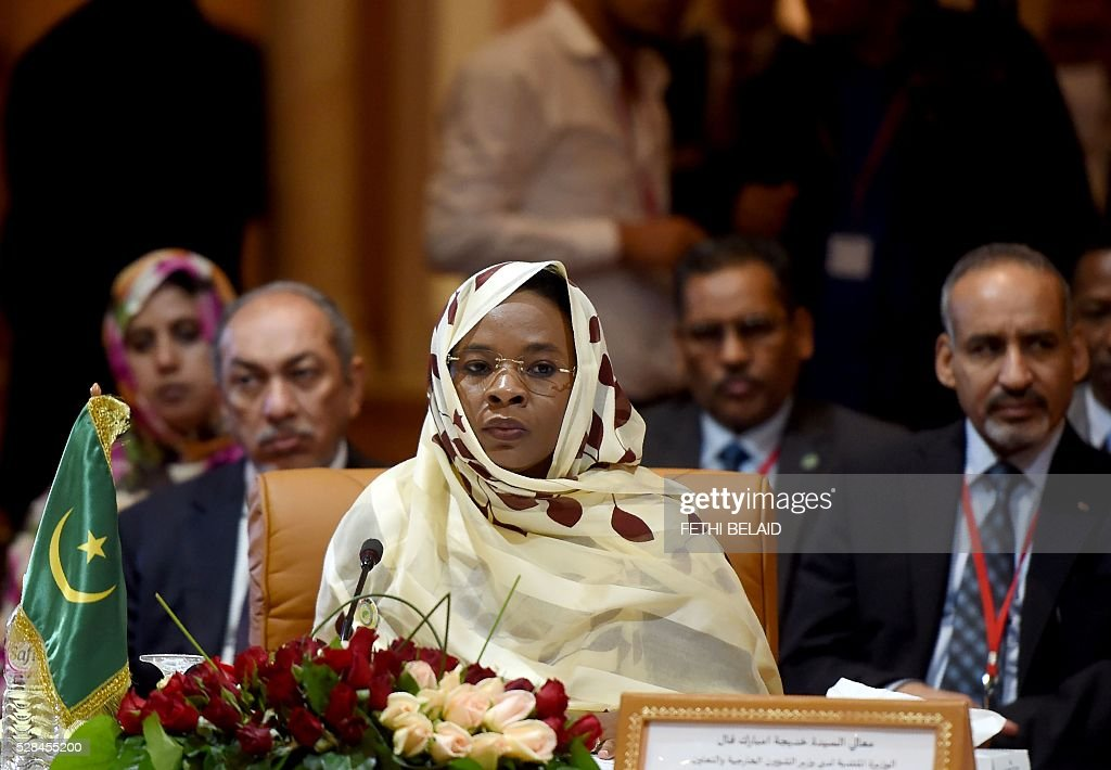 Mauritanian Foreign Affairs minister Khadija Mubarak Fali attends the 34th Council of Foreign Ministers from the Arab Maghreb Union (UMA) on May 5, 2016 in Tunis. / AFP / FETHI