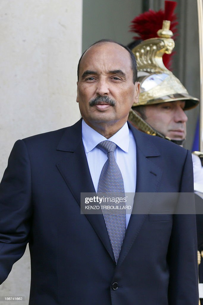 Mauritanian President Mohamed Ould Abdel Aziz leaves after a meeting with French President Francois Hollande at the Elysee Palace in Paris, on November 20, 2012. Aziz said he would soon return to Mauritania from France, where he is recovering after being shot by a soldier in his country on October 13.