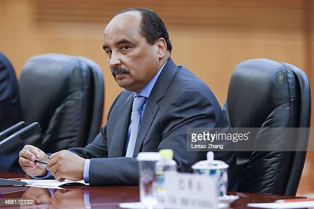 Mauritania's President Mohamed Ould Abdel Aziz meets with Chinese President Xi Jinping at the Great Hall of the People on September 14 2015 in...