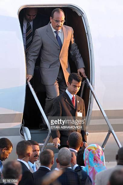 Mauritania's President Mohamed Ould Abdel Aziz walks down a plane upon arrival in Margarita Island Nueva Esparta state northwestern Venezuela on...