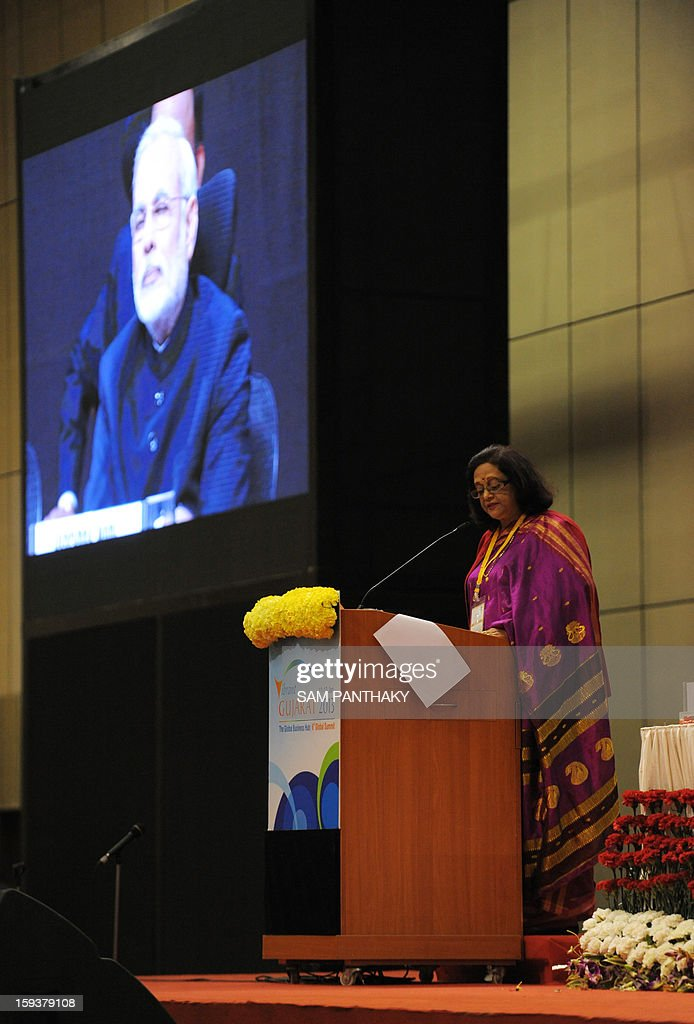 Mauritius Minister of Social Security, National Solidarity and Reform Institutions, Sheila Bappoo, addresses the audience during the Velidictory function of the Vibrant Gujarat 2013 6th Global Summit at Mahatma Mandir in Gandhinagar, some 30 kms from Ahmedabad on January 12, 2013. The summit was inaugurated by Gujarat Chief Minister, Narendra Modi yesterday and the two day summit is attended by a wide range of national and international corporate representatives. AFP PHOTO / Sam PANTHAKY