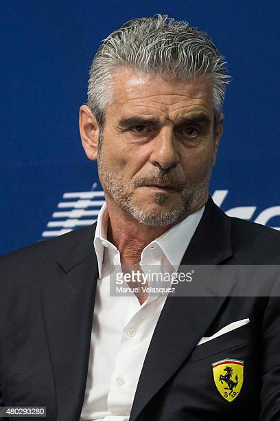 Maurizio Arrivabene Director of Ferrari talks to fans and media in a conference during the FIA Motorex 2015 at Centro Banamex on July 10 2015 in...