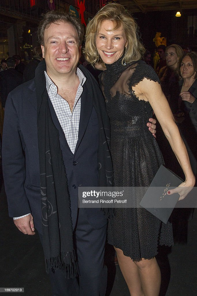 Maurizio Borletti (L) and his wife Grace attend the Berluti Men Autumn / Winter 2013 presentation at the Great Gallery of Evolution in the National Museum of Natural History, as part of Paris Fashion Week on January 18, 2013 in Paris, France.