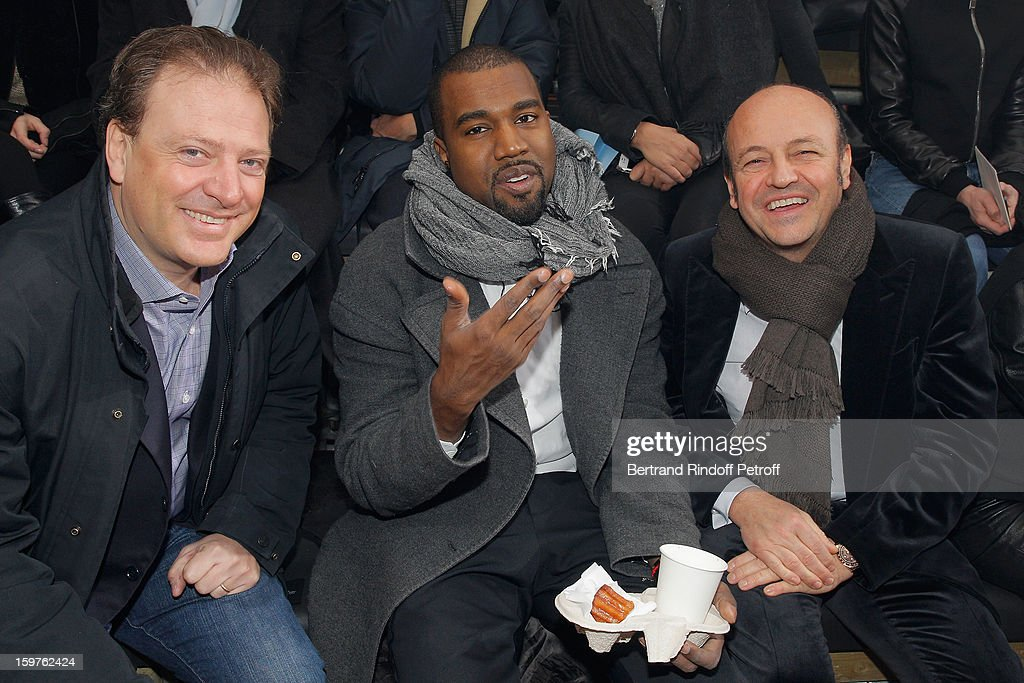 Maurizio Borletti, Kanye West and Thierry Andretta, CEO of Lanvin, attend the Lanvin Men Autumn / Winter 2013 show at Ecole Nationale Superieure Des Beaux-Arts as part of Paris Fashion Week on January 20, 2013 in Paris, France.