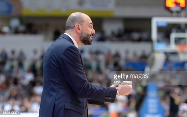 Maurizio Buscaglia coach of Dolomiti Energia during LegaBasket Serie A Playoffs match 3 beetwen Dolomiti Energia Trentino and EA7 Emporio Armani...