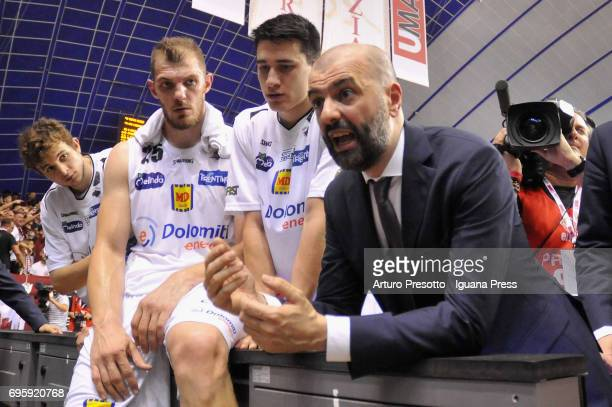 Maurizio Buscaglia head coach of Dolomiti talks over during the match game 2 of play off final series of LBA Legabasket of Serie A1 between...