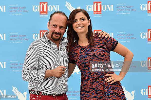 Maurizio Casagrande and Annalisa Scarrone attend Giffoni Film Festival 2015 Day 5 photocall on July 21 2015 in Giffoni Valle Piana Italy