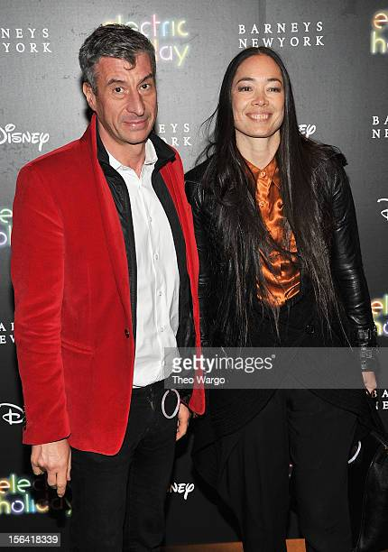 Maurizio Cattelan and Cecilia Dean attend Barneys New York And Disney Electric Holiday Window Unveiling Hosted By Sarah Jessica Parker Bob Iger And...