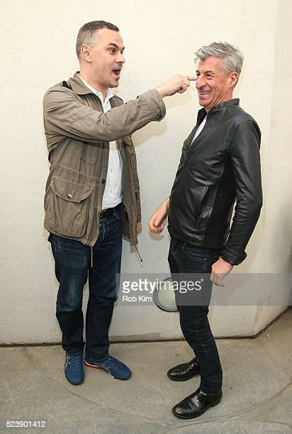 Maurizio Cattelan and Massimiliano Gioni attend the screening for 'Maurizio Cattelan Be Right Back' during the 2016 Tribeca Film Festival at...