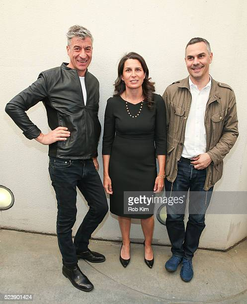 Maurizio Cattelan Maura Axelrod and Massimiliano Gioni attend the screening for 'Maurizio Cattelan Be Right Back' during the 2016 Tribeca Film...