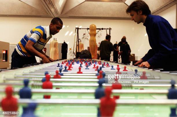 Maurizio Cattelan's Stadium a sevenmetre table football machine for 11aside play in the Tate Gallery in London part of Abracadabra a provocative new...
