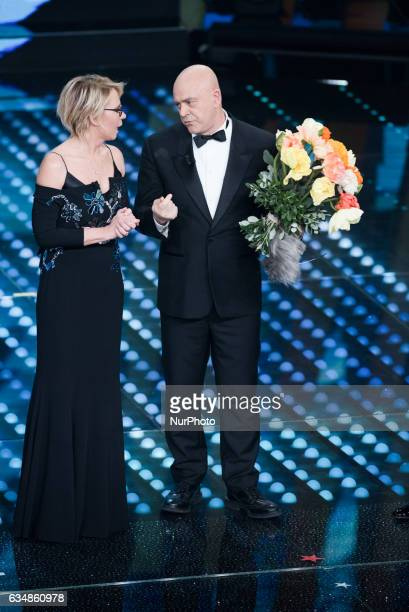 Maurizio Crozza and Maria De Filippi attend the closing night of 67th Sanremo Festival 2017 at Teatro Ariston on February 11 2017 in Sanremo Italy