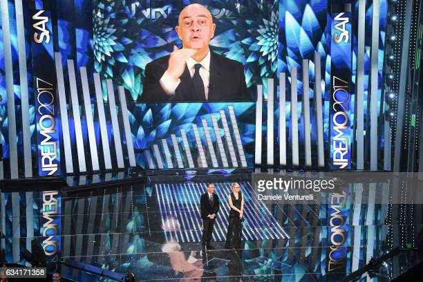 Maurizio Crozza Carlo Conti and Maria De Filippi attend the opening night of the 67th Sanremo Festival 2017 at Teatro Ariston on February 7 2017 in...