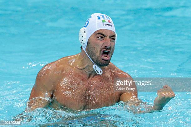 Maurizio Felugo of Italy celebrates during Men's Water Polo Semifinal match between Italy and Serbia on Day 14 of the London 2012 Olympic Games at...
