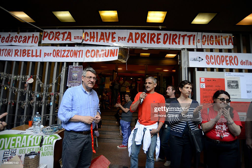 Maurizio Landini secretary of the metalworkers' union FIOM offers support to the 20 militants of Action, occupants of a house on the 18th day of their hunger strike to demand answers regarding the problem of housing and the risk of evictions on May 27 2016 in Rome, Italy.