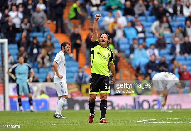 Maurizio Lanzaro of Real Zaragoza celebrates after his team scored their second goal during the La Liga between Real Madrid and Real Zaragona at...