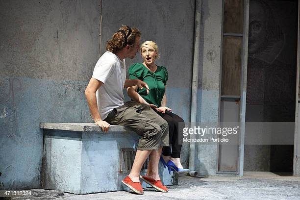 Maurizio Lastrico talks to Katia Follesa during the rehearsal the Italian actors play the parts respectively of Lysander and Hermia the lovers of A...
