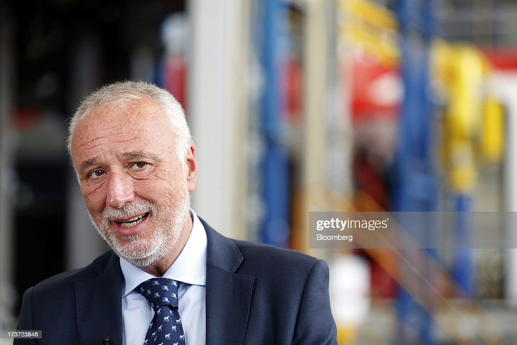 Maurizio Manfellotto, chief executive officer of AnsaldoBreda SpA, speaks during a Bloomberg Television interview at the company's rail-car plant in Pistoia, Italy, on Tuesday, July 16, 2013. Italian business confidence rose last month after Prime Minister Enrico Letta's Cabinet passed plans to boost employment and postponed the payment of the value-added tax planned for July. Photographer: Alessia Pierdomenico/Bloomberg via Getty Images