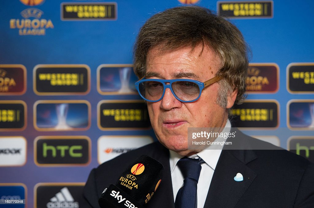 Maurizio Manzini S.S. Lazio Team Manager, gives an interview after the UEFA Europa League quarter finals draw at the UEFA headquarters on March 15, 2013 in Nyon, Switzerland.