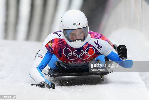 Maurizio Oioli of Italy ends a run during the Men's Skeleton on Day 8 of the Sochi 2014 Winter Olympics at Sliding Center Sanki on February 15 2014...