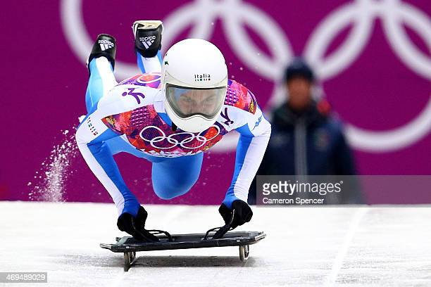 Maurizio Oioli of Italy makes a run during the Men's Skeleton on Day 8 of the Sochi 2014 Winter Olympics at Sliding Center Sanki on February 15 2014...