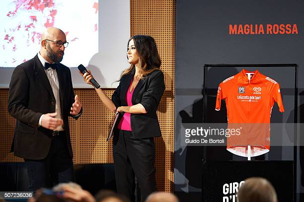 Maurizio Ruvolo Country project leader of Algida and Giorgia Palmas attend the Giro D'Italia 2016 jersey unveiling on January 28 2016 in Milano Italy