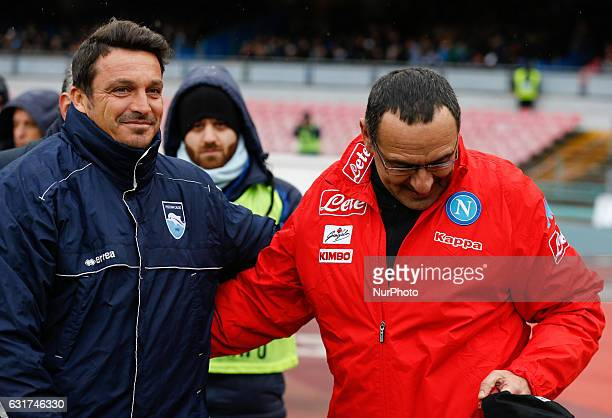 Maurizio Sarri and Massimo Oddo during the Italian Serie A match between SSC Napoli and Pescara at San Paolo Stadium in Naples Italy Jan 152017