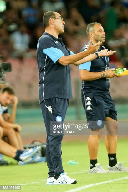 Maurizio Sarri coach of Naples during the match between SSC Napoli and OGC Nice to qualify for the playoffs of the UEFA champions league Napoli wins...
