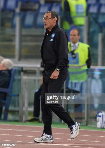 Maurizio Sarri during the Italian Serie A football match between SS Lazio and AC Napoli at the Olympic Stadium in Rome on april 09 2017