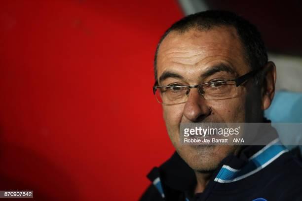 Maurizio Sarri head coach / manager of Napoli during the UEFA Champions League group F match between SSC Napoli and Manchester City at Stadio San...