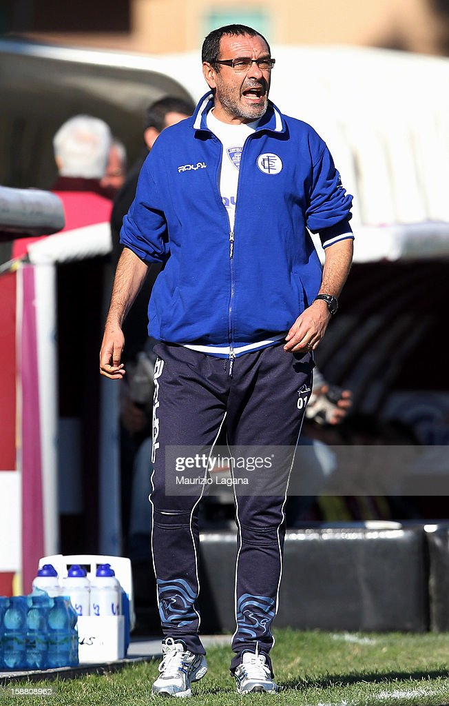 Maurizio Sarri head coach of Empoli during the Serie A match between Reggina Calcio and Empoli FC at Stadio Oreste Granillo on December 30, 2012 in Reggio Calabria, Italy.