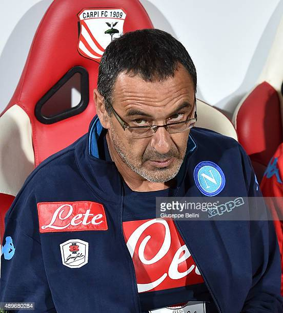 Maurizio Sarri head coach of Napoli during the Serie A match between Carpi FC and SSC Napoli at Alberto Braglia Stadium on September 23 2015 in...