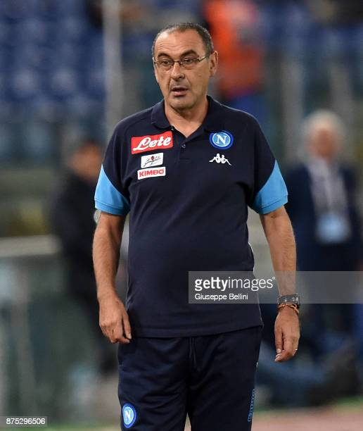 Maurizio Sarri head coach of SSC Napoli during the Serie A match between SS Lazio and SSC Napoli at Stadio Olimpico on September 20 2017 in Rome Italy