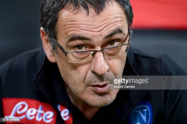 Maurizio Sarri head coach of SSC Napoli looks on prior to the Serie A football match between FC Internazionale and SSC Napoli SSC Napoli wins 10 over...