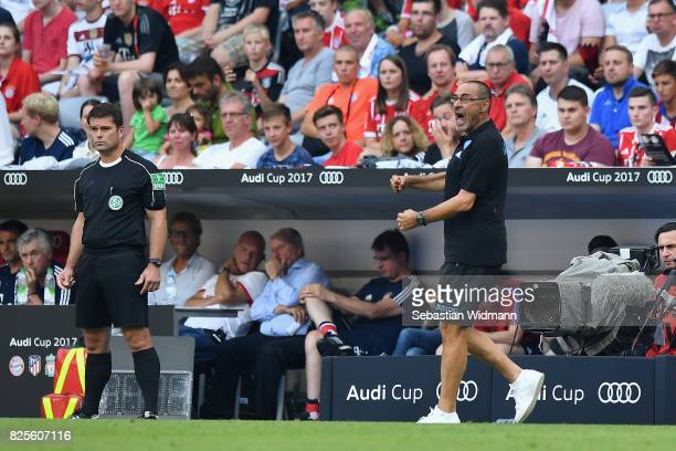 Maurizio Sarri head coach of SSC Napoli screams at players during the Audi Cup 2017 match between SSC Napoli v FC Bayern Muenchen at Allianz Arena on...