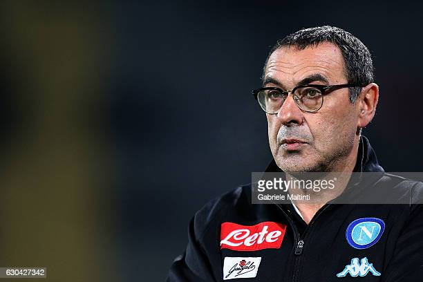 Maurizio Sarri manager of SSC Napoli looks on during the Serie A match between ACF Fiorentina and SSC Napoli at Stadio Artemio Franchi on December 22...