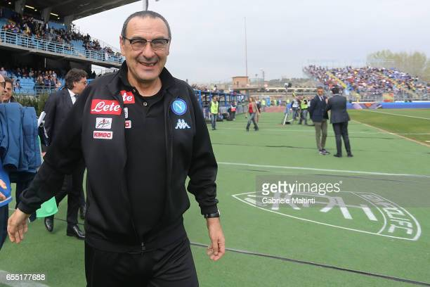 Maurizio Sarri manager of SSC Napoli reacts during the Serie A match between Empoli FC and SSC Napoli at Stadio Carlo Castellani on March 19 2017 in...