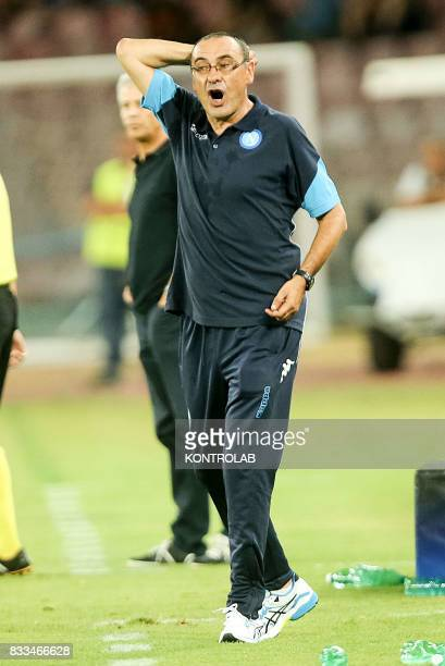 Maurizio Sarri Napoli coach during the match between SSC Napoli and OGC Nice for UEFA Champions League playoff qualification Napoli wins 2 to 0...
