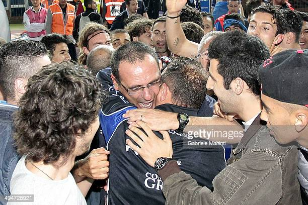 Maurizio Sarri of Empoli FC celebrate after winning Serie B and gaining promotion to Serie A after during the Serie B match between Empoli FC and...
