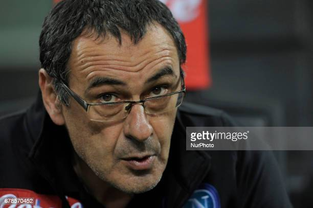 Maurizio Sarri of Napoli coach during the Serie A match between FC Internazionale and SSC Napoli at Stadio Giuseppe Meazza on April 30 2017 in Milan...