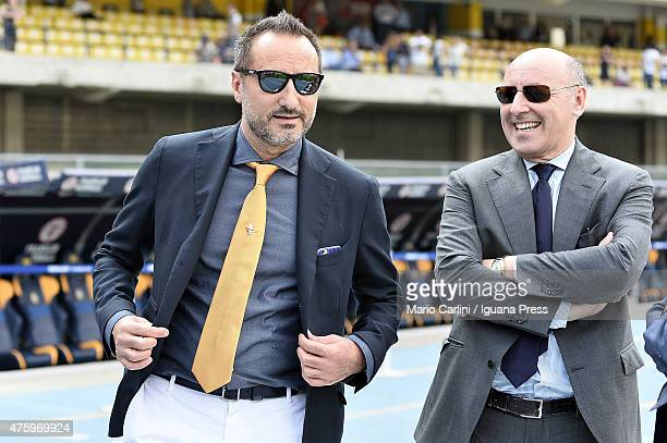 Maurizio Setti President of Hellas Verona FC Giuseppe Marotta Managing and Sporting Director of Juventus FC looks on prior the beginning of the Serie...