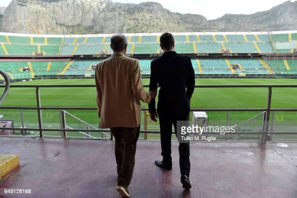 Maurizio Zamparini former President of US Citta' di Palermoand new President Paul Baccaglini look on at Renzo Barbera Stadium on March 7 2017 in...